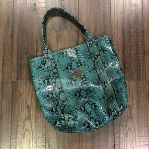 Vintage Turquoise Reptile Print Guess Tote
